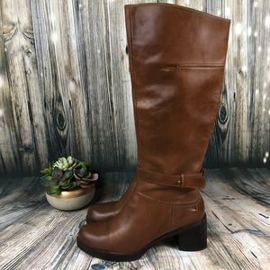 Halogen Tall Leather Heel Boots Chestnut Size 7.5